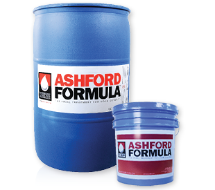 Ashford Formula blue 55-gallon drum and blue 5-gallon pail.