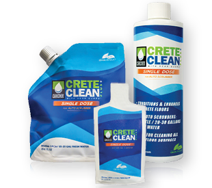 CreteClean Plus Single Dose 6 oz. pouch, 1.2 oz. pouch and 12 oz. bottle.