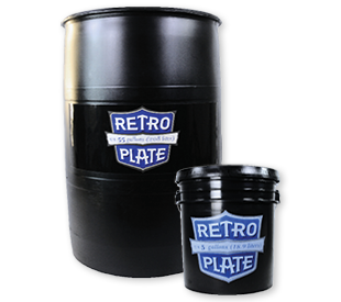 RetroPlate 55-gallon drum and 5-gallon pail. Black.