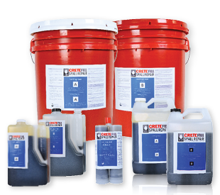 CreteFill Spall Repair red 5-gallon pails (side A and side B), 1-gallon jugs of side A and side B, 22 oz cartridge and 2-gallon side A and B jugs.