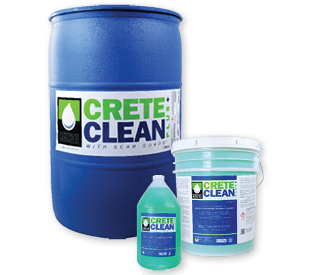 CreteClean Plus with Scar Guard blue 55-gallon drum, translucent 5-gallon pail and translucent 1 gallon jug.