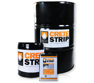 CreteStrip black 5-gallon pail, 1 gallon jug and 55-gallon drum.