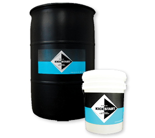 KickStart Clarity Enhancer black 55-gallon drum and white 5-gallon pail.